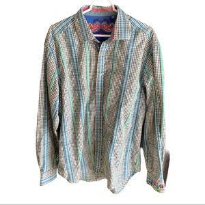 Robert Graham blue stripe button down XL